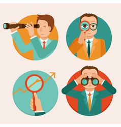 businessmen looking for future trends vector image