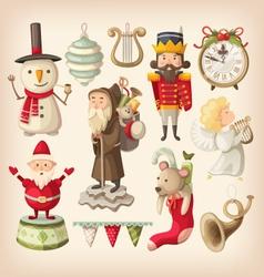 christmas retro toys vector image vector image