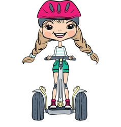 Cute hipster baby girl on Segway vector image vector image