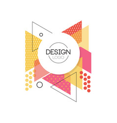 design logo colorful geometric element for brand vector image