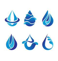 set of abstract blue water drops symbols logo vector image