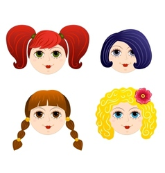 Set of girls faces 2 vector image vector image