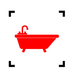 bathtub sign red icon inside vector image