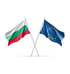 bulgaria and european union waving flags vector image