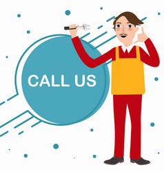 call us mechanic technician phone service standing vector image vector image