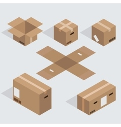 modern isometric cardboard icons set vector image
