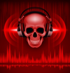 Skull in headphones Disco background vector image vector image