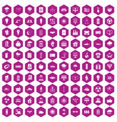 100 solar energy icons hexagon violet vector