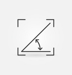 45 degrees angle outline concept icon vector