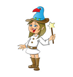 a happy girl with magic stick on white vector image