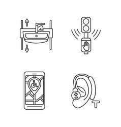 accessibility devices linear icons set vector image