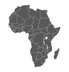 Africa grey contour map countries and islands vector