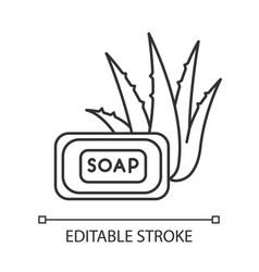 Aloe vera soap pixel perfect linear icon organic vector