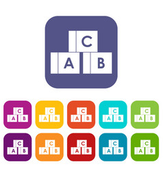 alphabet cubes with letters abc icons set vector image