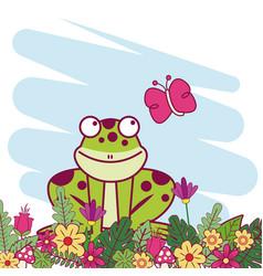 animals on spring cartoon vector image