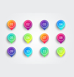 arrow bullet point colorful markers with number vector image