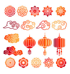 Asian decorative elements collection vector