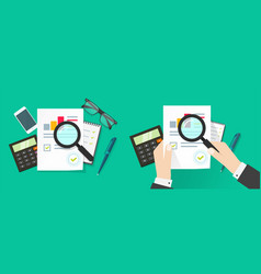 Auditor person man research or analyse sales vector