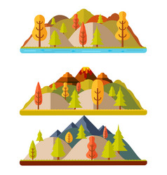 autumn nature landscapes hills and mountains vector image