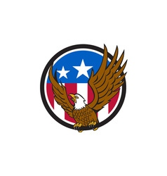 Bald Eagle Spread Wings USA Flag Circle Retro vector