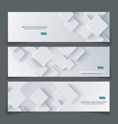 banner set with abstract geometric paper vector image