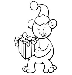 Bear on christmas coloring book vector
