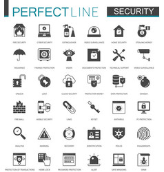 Black classic security icons set protection vector