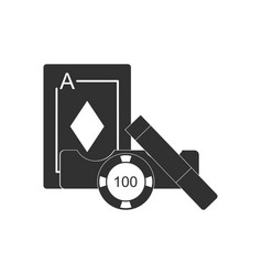 Black icon on white background ace chip and cigar vector