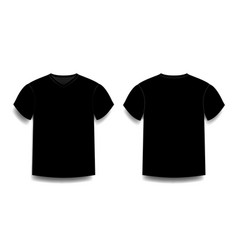 Black male t-shirt template v-neck front and back vector