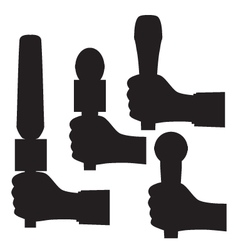Black silhouette of a hand with a microphone vector image