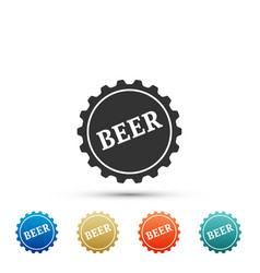 bottle cap with beer word icon on white background vector image