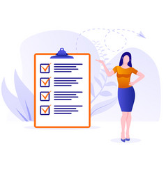 businesswoman checklist concept business woman vector image