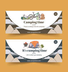 Camping banner design with bicycle bucket hat vector