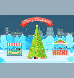 card winter park with fir-tree in city vector image