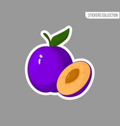 cartoon fresh plum isolated sticker vector image