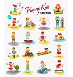 children playing isolated Cartoon kids vector image
