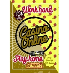 Color vintage online casino poster vector