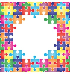 Colored frame made up of pieces puzzle vector