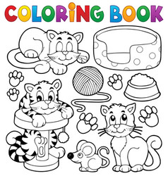Coloring book cat theme collection vector