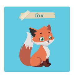 Cute fox on blue background vector