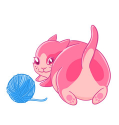 Cute pink kitten plays with a ball of wool vector
