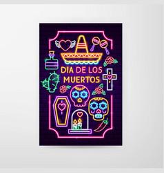 Dia de los muertos neon flyer vector