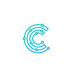 Digital letter c logo icon design vector