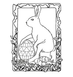easter bunny with egg and nature frame vector image