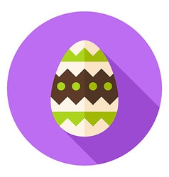 Easter Egg with Ornament Decor Circle Icon vector image