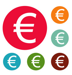 euro symbol icons circle set vector image