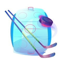 Field or ice hockey sticks and rubber puck logo vector