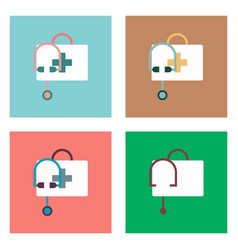 Flat icon design collection first aid bag vector