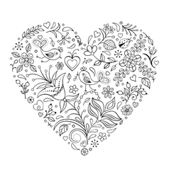 Floral valentines heart vector