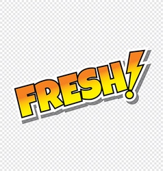 fresh cartoon text sticker vector image
